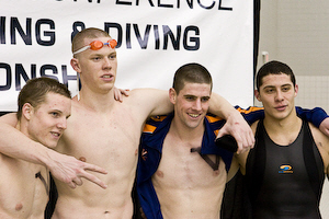 The University of  Virginia team of Scott Robison, Matt Mclean, Peter Geissinger and John Azar demolished the previous 400 freestyle relay ACC record by more than three seconds with a 2:51.50