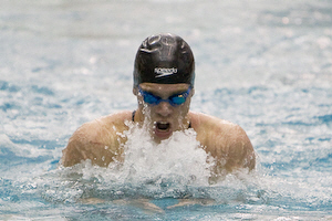 Georgia Tech junior Gal Nevo swims the breastroke leg on his way to winning the 200 individual medley in an ACC conference record 1:43.34.