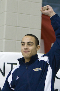 Georgia Tech freshman Nigel Plummer claims gold in the 50 freestyle in 19.54