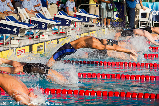 Matt Grevers at the start of a winning 200 back efforet at the 2011 ConocoPhillips USA Swimming National Championships