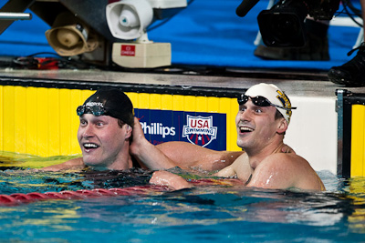 Club Wolverine teamates Peter Vanderkaay and Daniel Madwed go 1-2 in the 400 meter freestyle to qualify for the 2009 World Swimming Championships at the 2009 ConocoPhillips National Swimming Championships and World Championship Trials