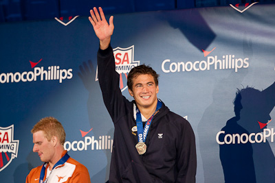 Nathan Adrian on the victory stand following his win in the 100 free at the 2009 ConocoPhillips USA National Swimming Championships and World Championship Trials