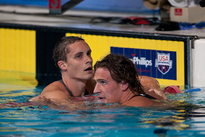 Eric Shanteau (L) and Ryan Lochte (R) qualify for the USA World Championship team in the 200 individual medley