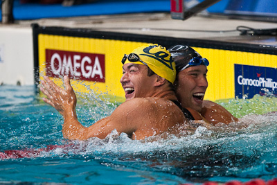 Nathan Adrian of Cal Aquatics celebrates his 50 free victory with Matt Grevers at the 2009 ConocoPhillips USA National Swimming Championships and World Championship Trials