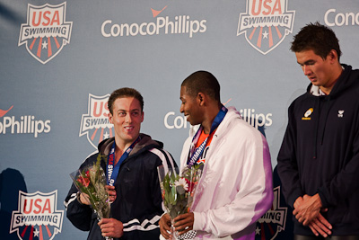 Garrett Weber-Gale and Cullen Jones share the number two spot on the victory stand following a tie in the 50 free at the 2009 ConocoPhillips USA National Swimming Championships and World Championship Trials