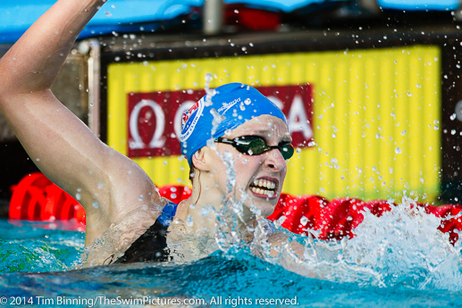 Katie Ledecky of Nation's Capitol Swim Club celebrates after setting a new world record in the 400 free.